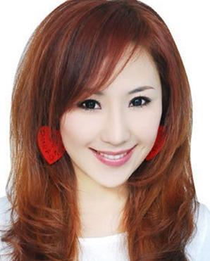 三七分短斜刘海发型女分享展示图片
